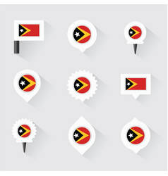 east timor flag and pins for infographic and map vector image