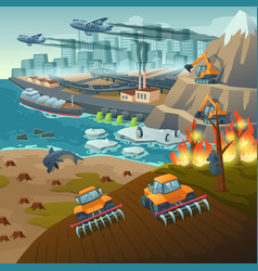 Ecology problems concept water and air pollution vector