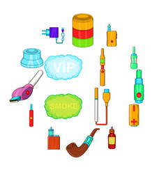 electronic cigarettes icons set cartoon style vector image