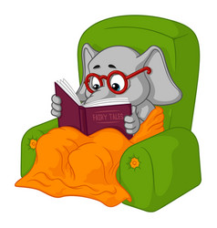 Elephant chair reading cartoon vector