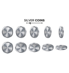 empty 3d silver coins blank set realistic vector image
