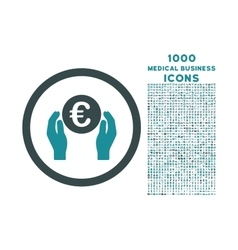 Euro Insurance Hands Rounded Icon with 1000 Bonus vector image