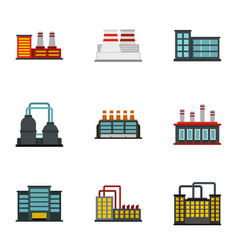 Factory icons set flat style vector