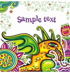 Fairy dragon floral pattern vector image