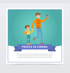 father and his son in 3d glasses with popcorn vector image