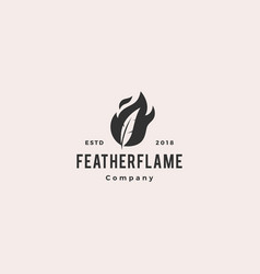feather pen fire flame logo hipster vintage retro vector image