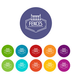fence decorative icons set color vector image
