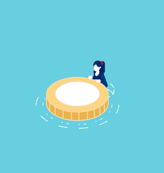 floating on water with rescue coin buoy vector image