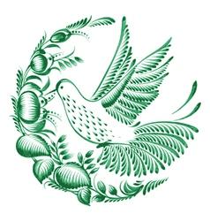 Floral decorative circle colibri vector