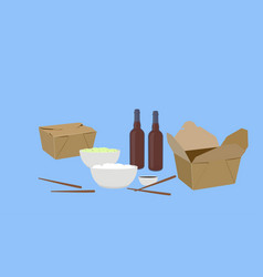 food take away with beer vector image