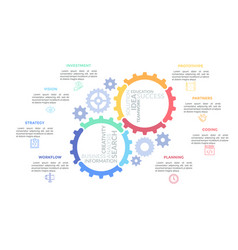 gear wheels consisted multicolored parts and vector image