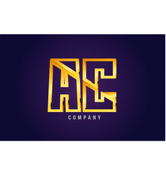 Gold golden alphabet letter ac a c logo vector