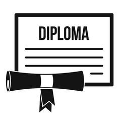 Graduation diploma icon simple style vector