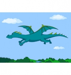 Green dragon in the sky vector