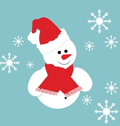 Greeting card with snowman vector image vector image