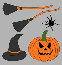 halloween set perfect for package design card vector image