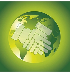 Hands over planet over green background business vector
