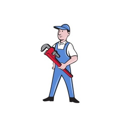 Handyman Pipe Wrench Standing Cartoon vector image