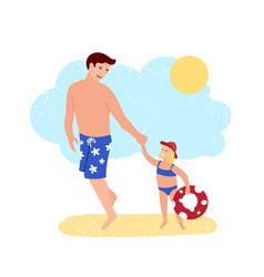 happy father and daughter enjoy rest at beach vector image