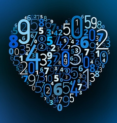 Heart font from numbers vector