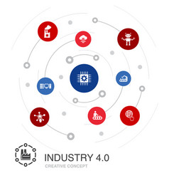 Industry 40 colored circle concept with simple vector