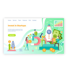 Investing in startup people and new project web vector