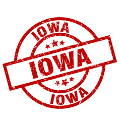 Iowa red round grunge stamp vector