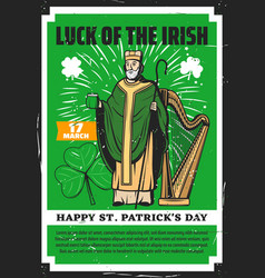 irish saint patrick with beer and shamrock clover vector image