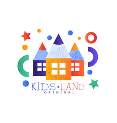 kids land logo original colorful creative label vector image