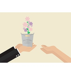 Man giving flowers to a woman vector image
