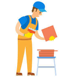 man with blocks construction building vector image