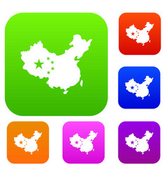 map of china set color collection vector image