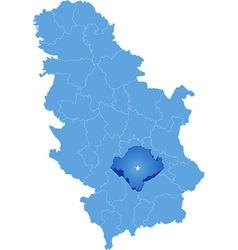 Map of Serbia Subdivision Toplica District vector