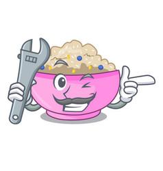 Mechanic cooked whole porridge oats in cartoon pan vector