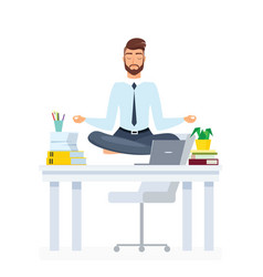 meditating office employee flat vector image