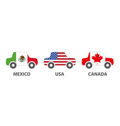 mexico usa canada car products vector image