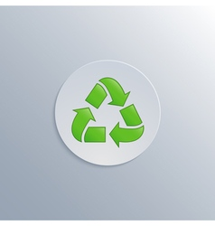 Minimalistic of a white button with a recycle icon vector
