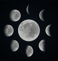 Moon phase set vector