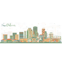 New orleans louisiana city skyline with color vector