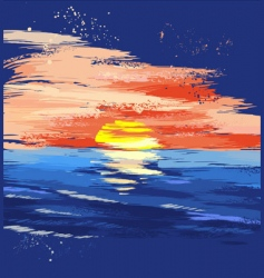 painted sunset on the sea vector image