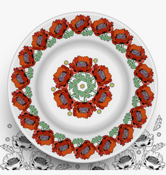 plate with decorative flowers poppies vector image