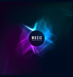 radial sound wave curve with light particles vector image