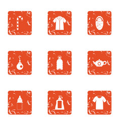 Remedy icons set grunge style vector