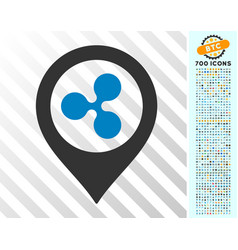 Ripple map marker flat icon with bonus vector