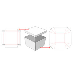 separable box and lid die cut template vector image