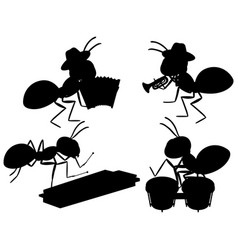 Set ants silhouette vector