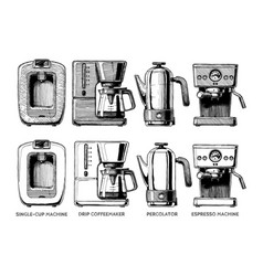 Set of coffee machines vector