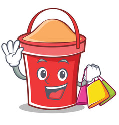 shopping bucket character cartoon style vector image