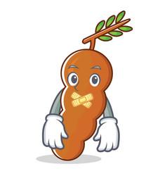 Silent tamarind mascot cartoon style vector
