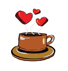 Sketch drawing love coffee vector